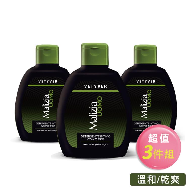 【Malizia 瑪莉吉亞】男香私密保養沐浴露pH5.5 - 香根草 200ml(超值三件組)