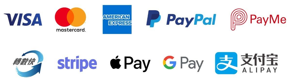 到會付款方式包括VISA、Mastercard、American Express、PayPal、PayMe、轉數快、Stripe、Apple Pay、Google Pay、支付寶|高級到會推介|Kama Delivery Catering