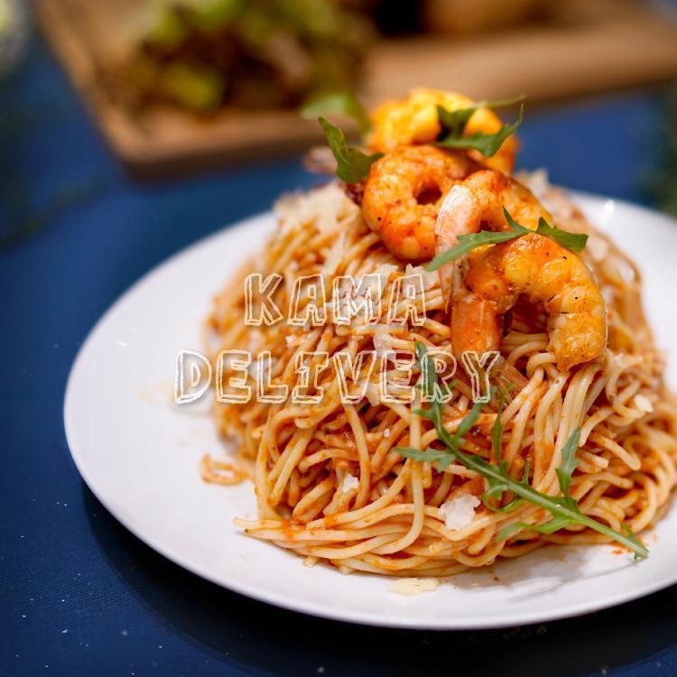 到會套餐主食為鮮茄虎蝦扁意粉|浪漫情人節套餐外賣配送|Kama Delivery Catering