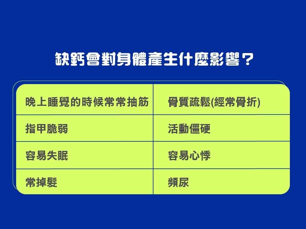 二. 當身體缺鈣時,可能會有哪些症狀?