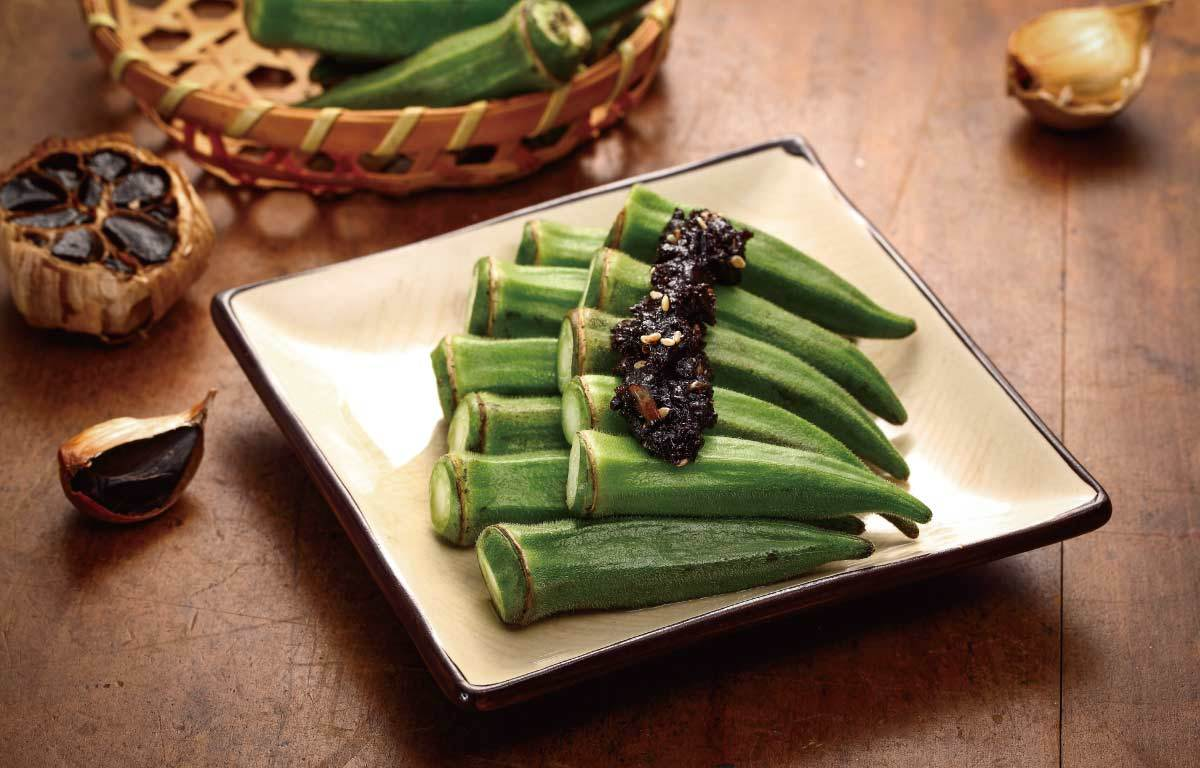 秋葵與黑蒜頭醬