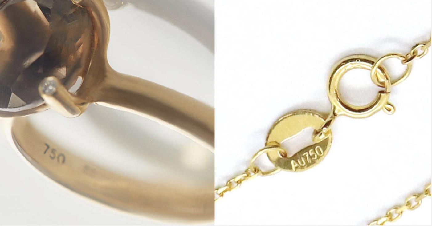 為了方便識別,金飾或銀飾品上面都會有純度標示,例如戒指內環標示750,又或者首飾扣環上標示Au750,都代表18K金。