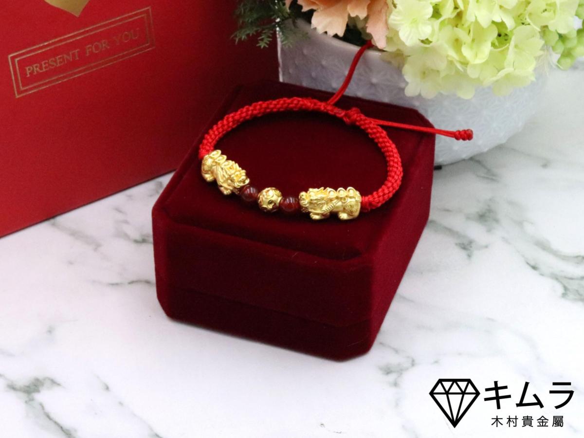黃金貔貅手鍊,公貔貅代表招財,母貔貅代表財庫。
