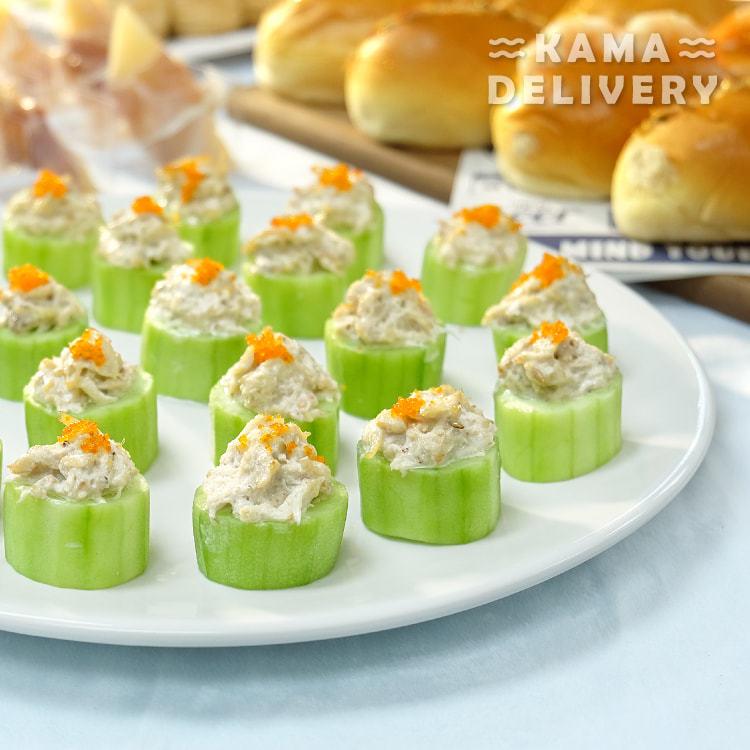 一口派對小食到會套餐的蟹肉沙律青瓜塔