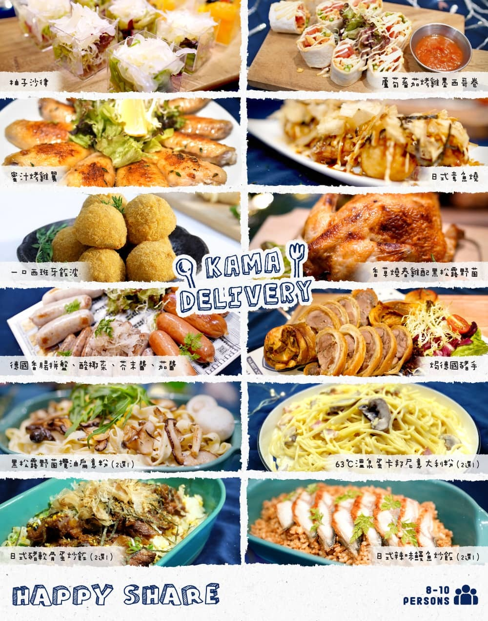 Kamadelivery推出的Happy Share Set套餐食物份量適合8-10人到會享用