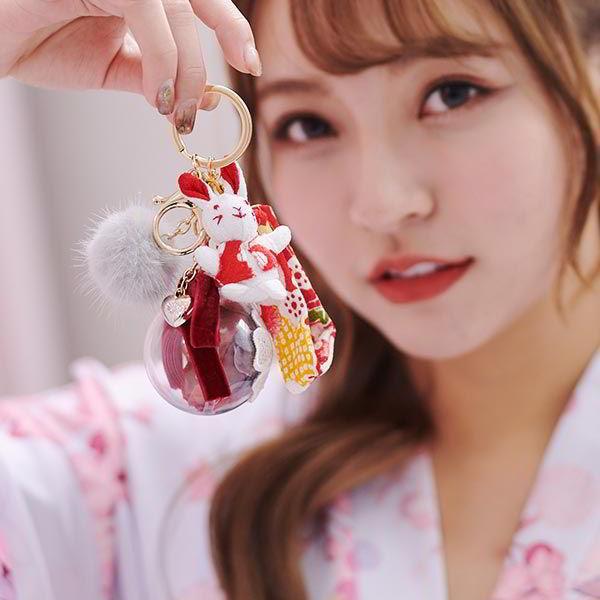 可愛兔子毛球永生花綴飾鑰匙圈