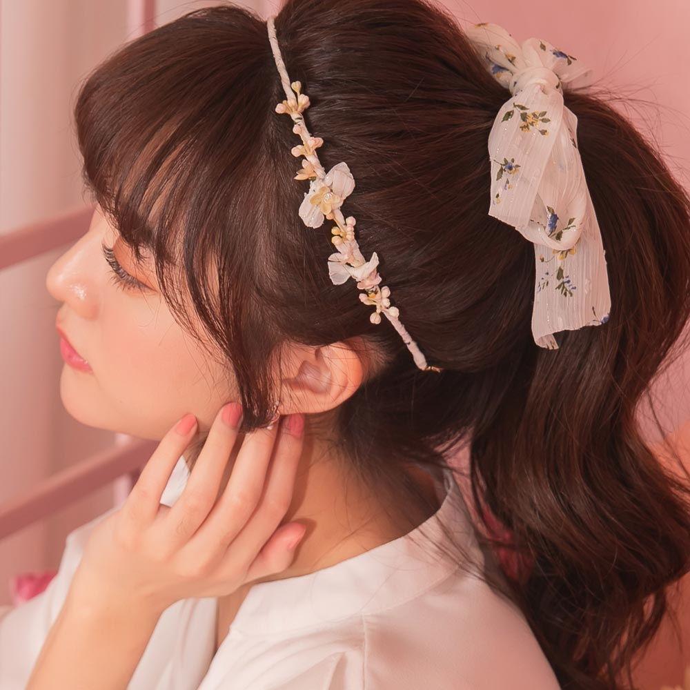 韓國直送‧立體花朵印花綁帶髮箍