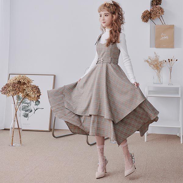 Ruby x Flora 聯名設計‧格紋不規則裙襬無袖洋裝