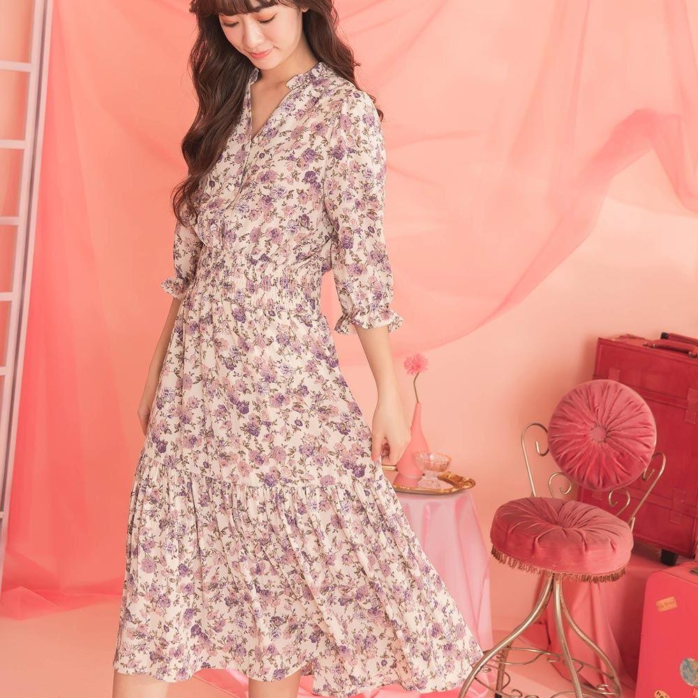 印花V領縮腰七分袖長洋裝