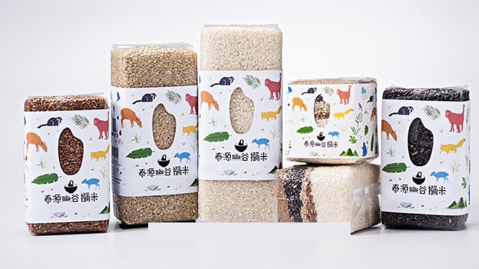 各種獼米的米,包含紅米、黑米、白米、紅藜、糙米與五鑽米