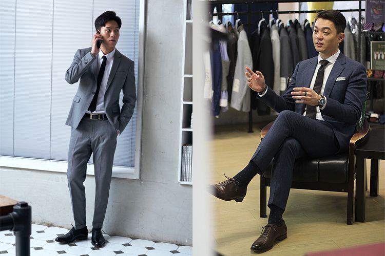 橫飾皮鞋搭配正式灰色、深藍色商務西裝