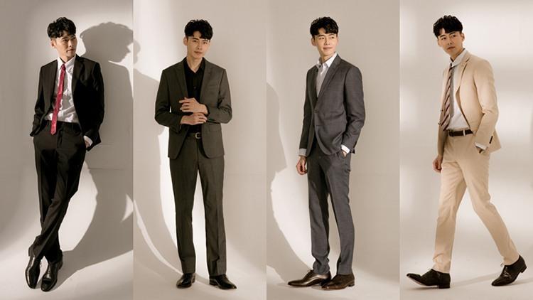 1/4黑掃雕花牛津鞋牛津鞋搭配成套黑色、灰色或卡其色西裝