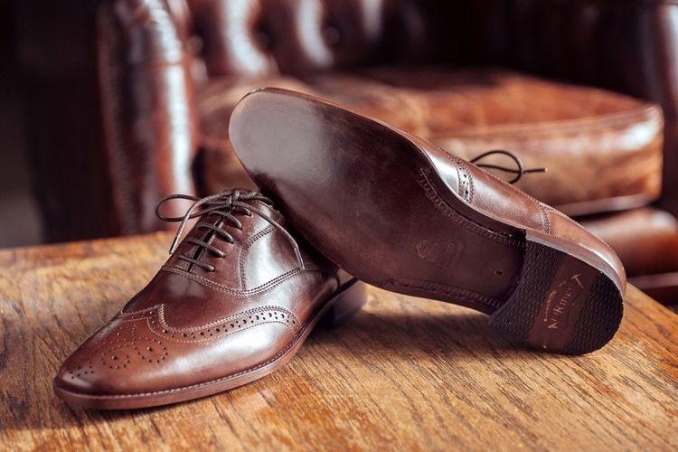 皮革大底 3/4雕花鋸齒翼紋牛津鞋 可可咖