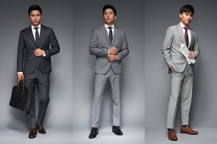 深淺灰色西裝搭配黑色或咖啡色皮鞋