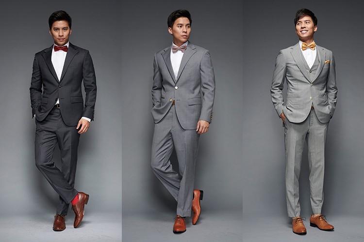 深淺灰色西裝搭配棕色系皮鞋