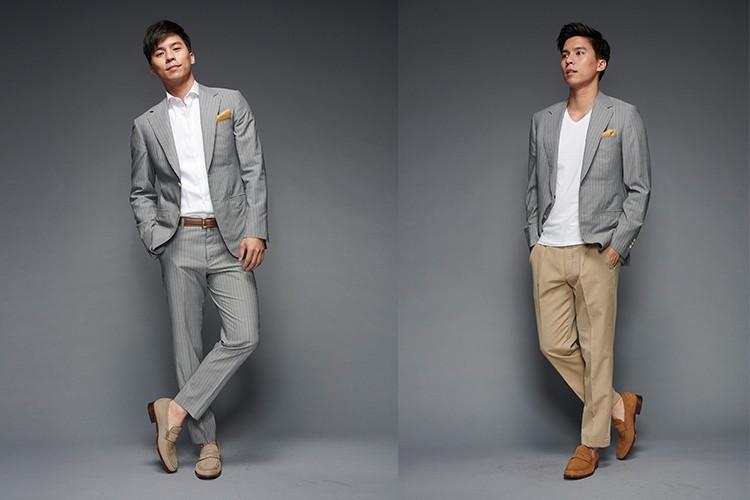 灰色西裝單品搭配樂福鞋的休閒感