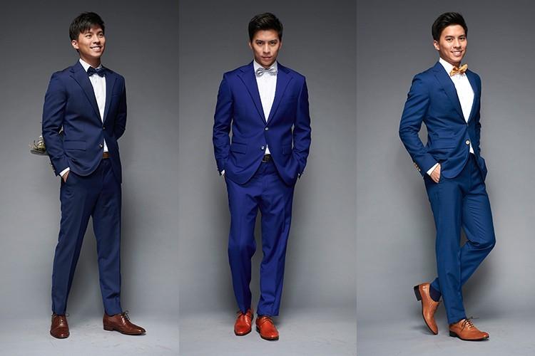 深藍色西裝搭配紅棕色或酒紅色皮鞋