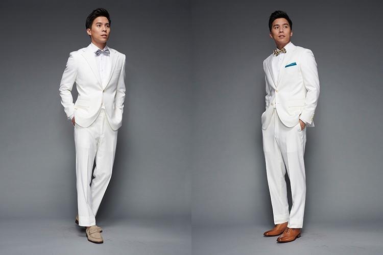 婚禮新郎白色西裝搭配棕色系皮鞋