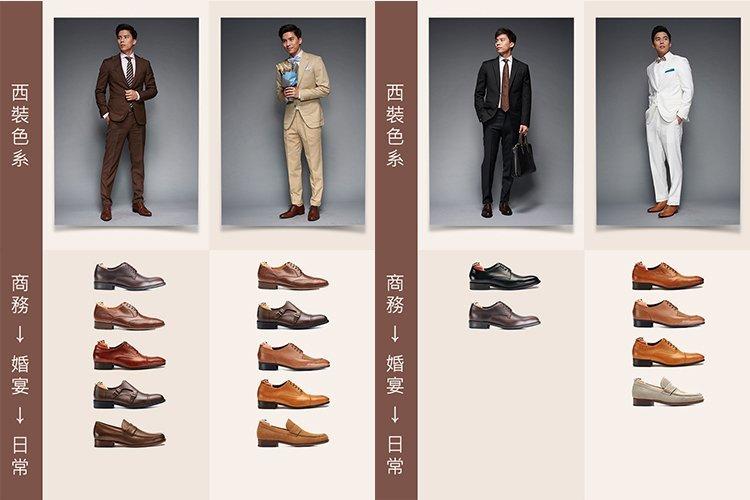 棕色、黑色、白色西裝皮鞋穿搭商務到日常的配色表