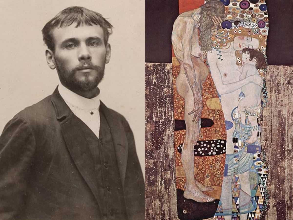 奧地利畫家古斯塔夫·克林姆(左)與其繪作1905年的《女人的三個階段》