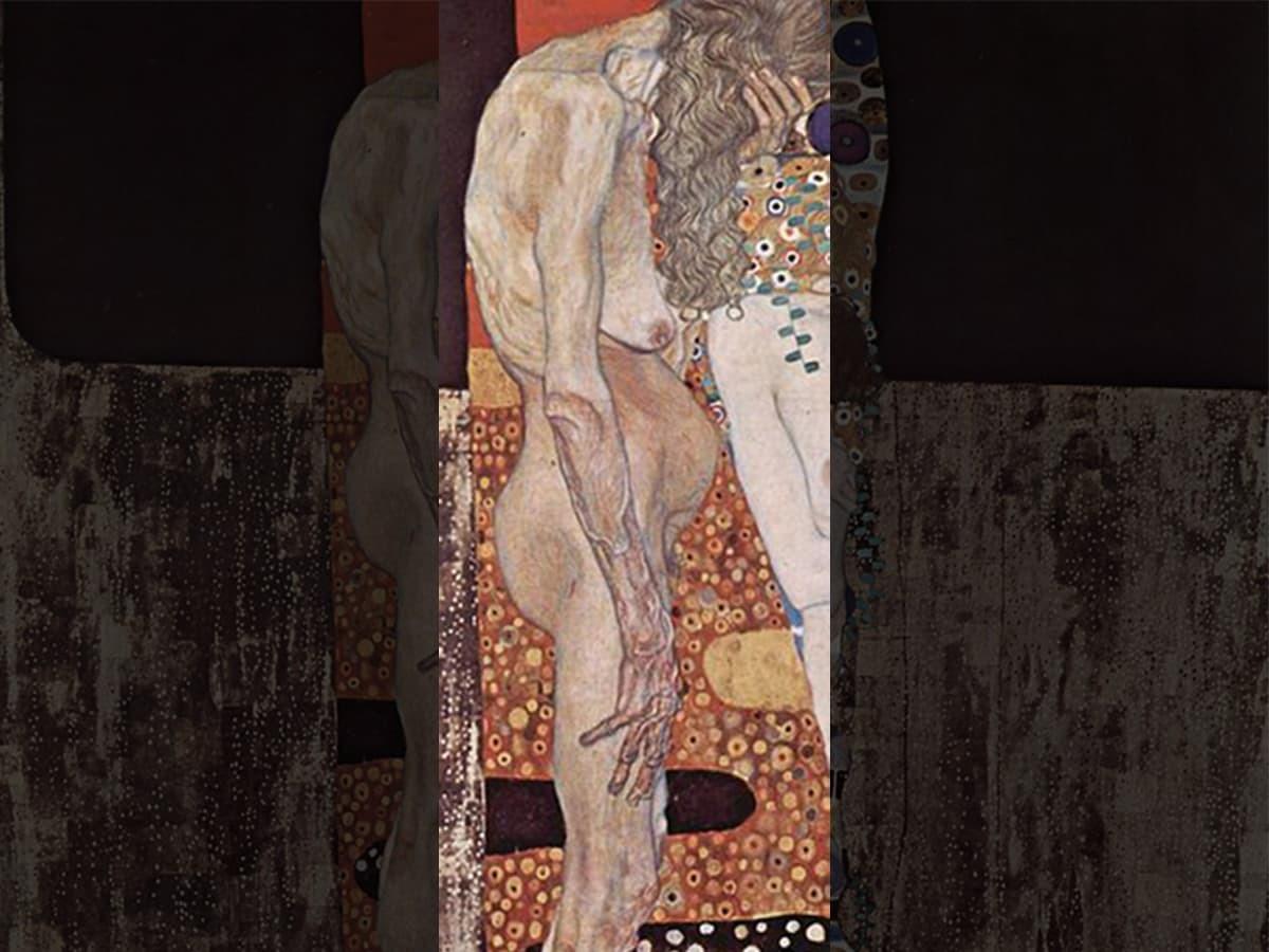 《女人的三個階段》黃髮垂髫的老人佝僂著軀體,難掩時光消逝的傷悲。