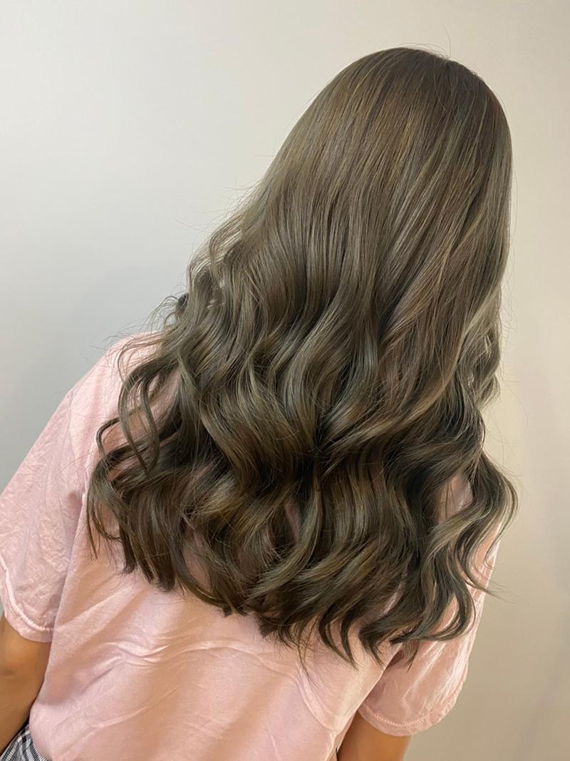 Ink Hair專業沙龍設計師精選作品集長捲髮背影篇冷棕色捲髮染髮