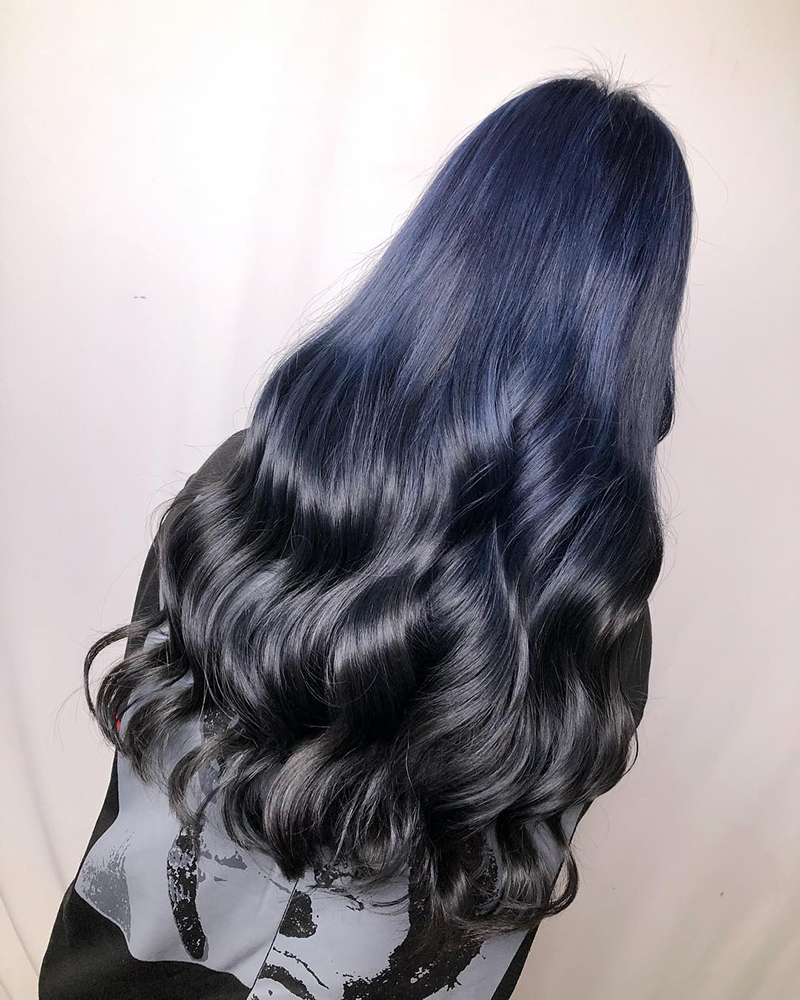 Ink Hair專業沙龍設計師精選作品集長捲髮背影篇藍黑漸層染髮