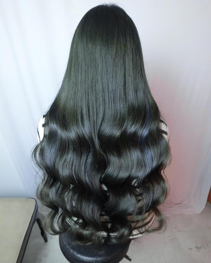 Ink Hair專業沙龍設計師精選作品集長捲髮背影篇墨綠色染髮