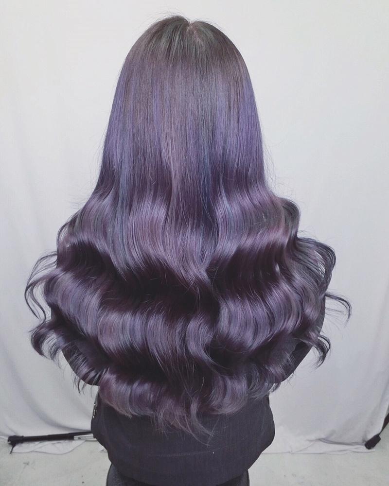 Ink Hair專業沙龍設計師精選作品集長捲髮背影篇紫色染髮