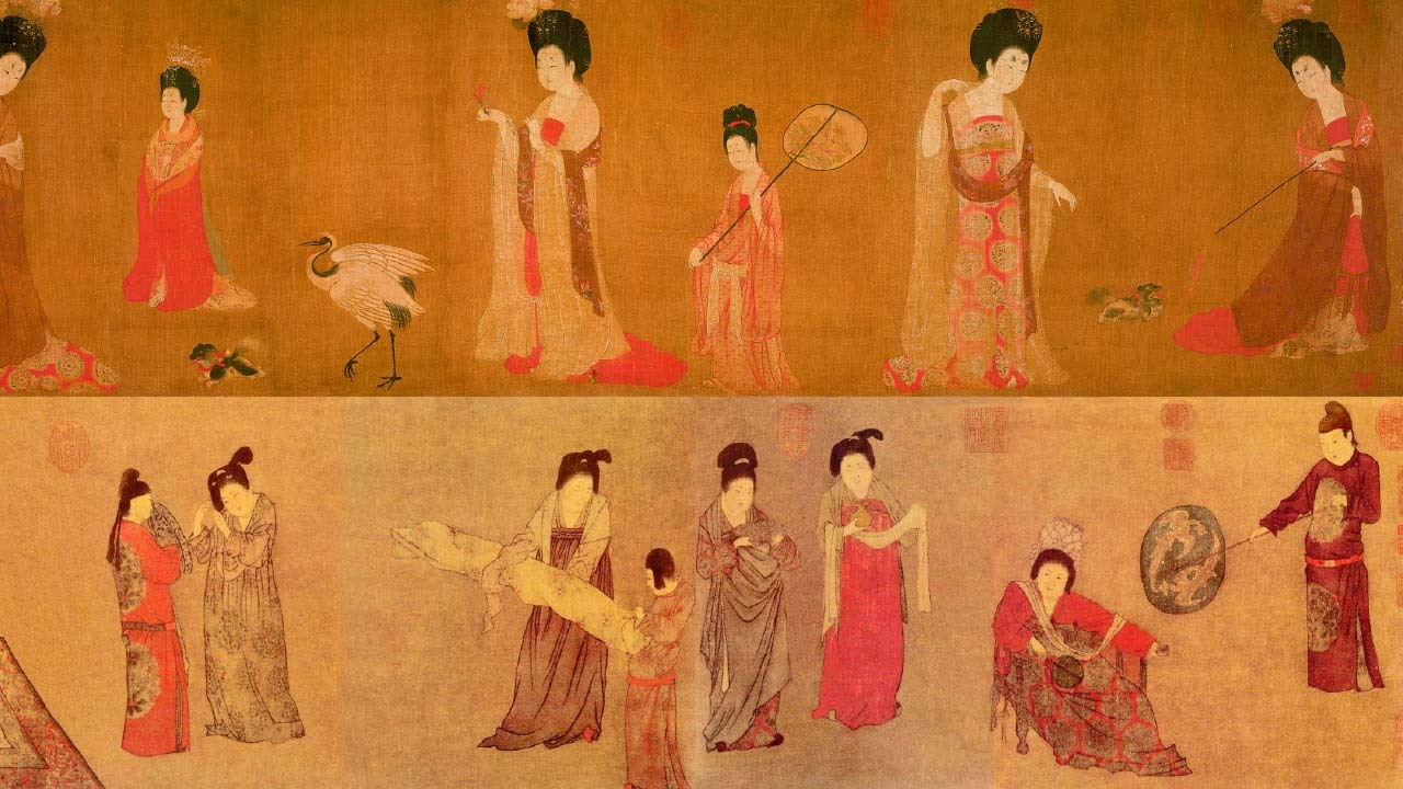 唐朝畫家周昉所繪製的上圖《簪花仕女圖》、下圖《揮扇仕女圖》,內容主要繪製貴族仕女的華麗裝扮,鮮豔的紅色絲綢