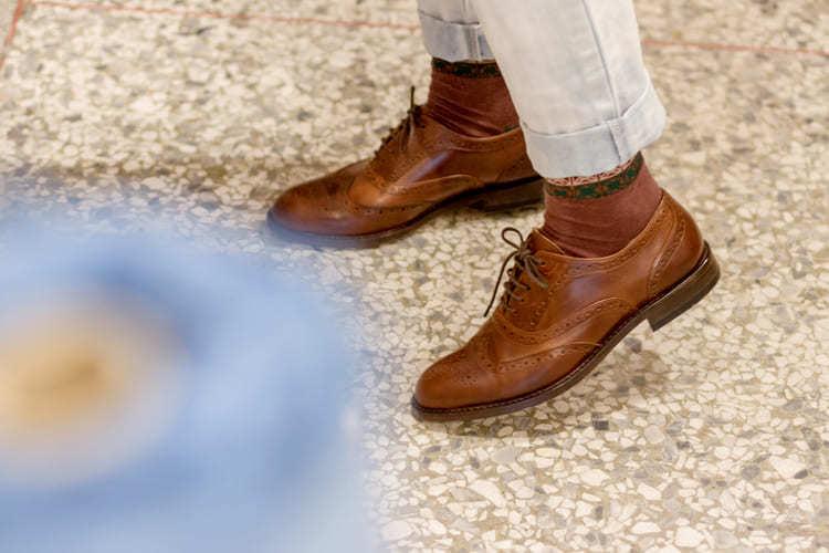 全翼紋雕花牛津鞋