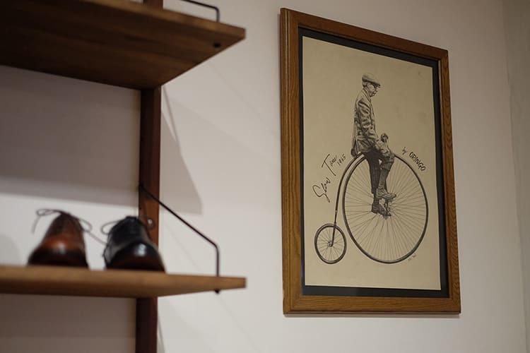 Mr Yan為了林果東門店手繪的紳士騎復古腳特車插畫
