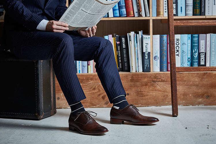 鑲邊飾線德比鞋