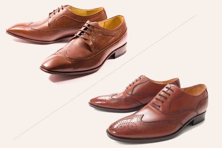 左為長翼紋德比鞋 右為翼紋牛津鞋
