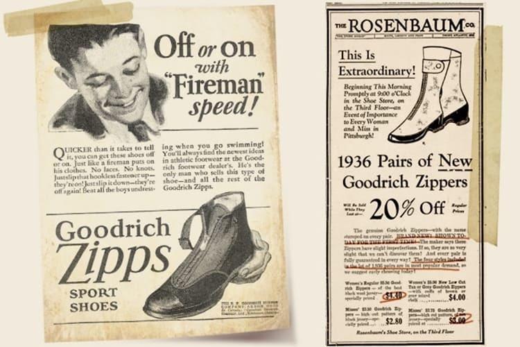 Goodrich 公司當時推出拉鍊鞋的廣告