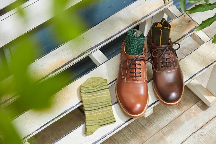 蠟感牛津休閒鞋與襪子