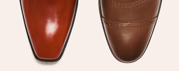兩隻紳士鞋鞋頭對比