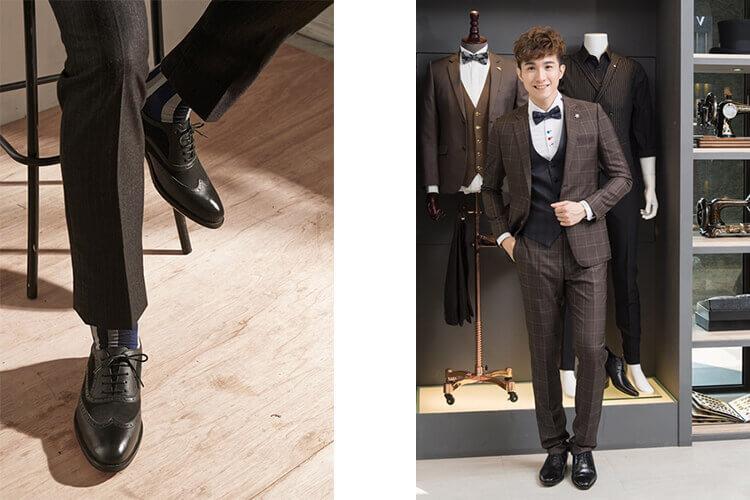 一名穿咖色西裝與黑皮鞋的男人