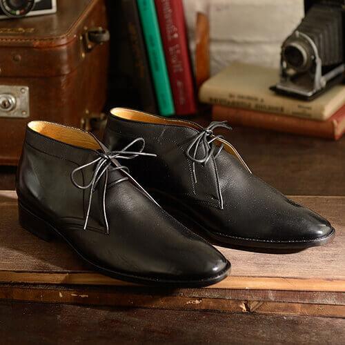 林果皮底黑色沙漠靴