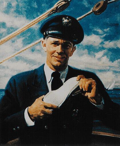 拿著帆船鞋的海軍的復古海報