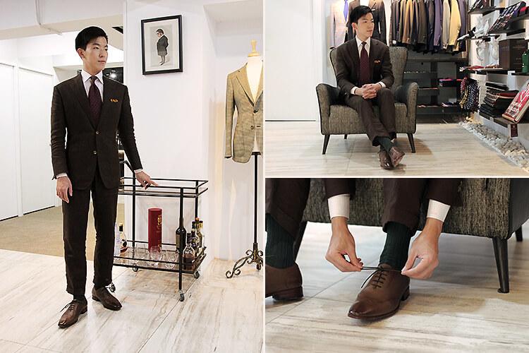 一名男人穿咖色西裝與咖色牛津鞋
