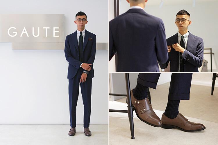 GAUTE台北店店長Brad穿灰西裝與咖色雙扣孟克鞋
