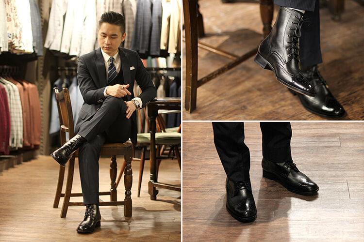 老爺西服台北店店經理Ice穿黑西裝搭配黑色皮底德比靴