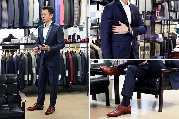 styder主理人george穿藍西裝與紅色牛津鞋的示範照