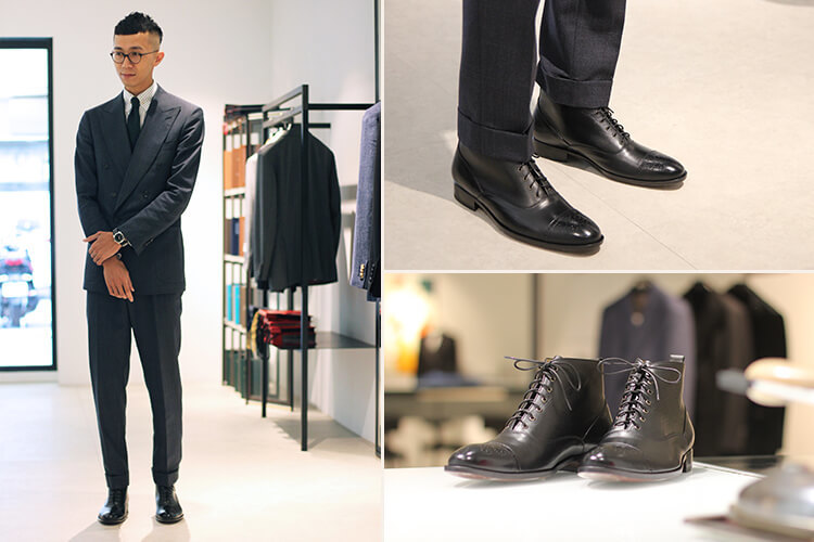 gaute台北店店長brad穿灰西裝搭配黑色巴爾莫勒靴示範照