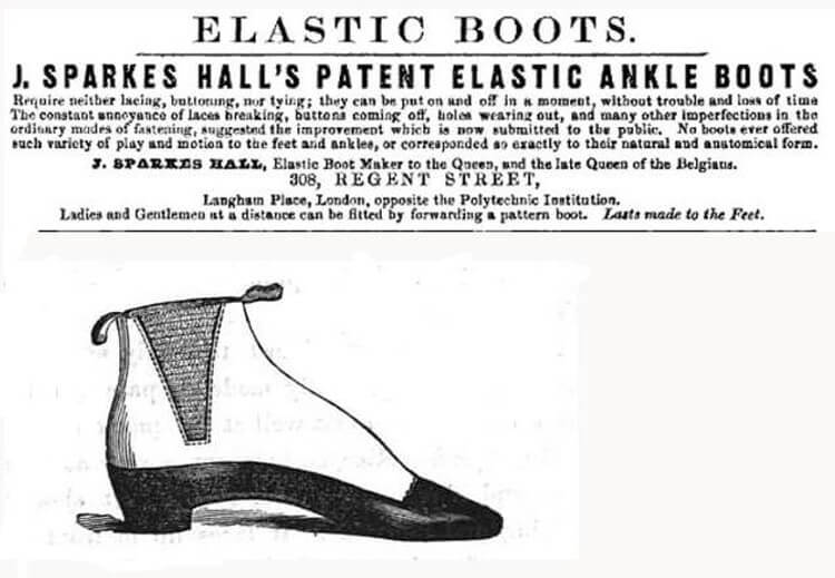 J.Sparkes Hall 是將硫化橡膠(鬆緊帶)使用在踝靴側邊的第一人