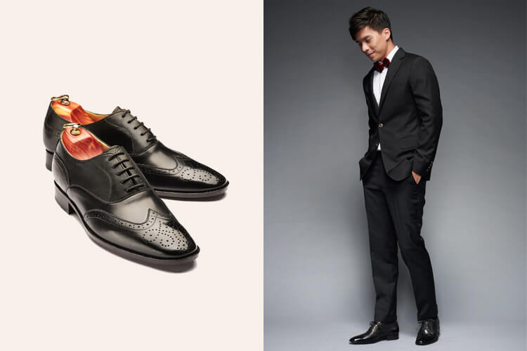 婚宴人氣款款推薦 3/4雕花鋸齒翼紋牛津鞋黑色