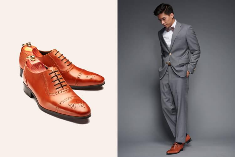 特殊色的設計款 橫式U型鞋翼牛津鞋 摩卡咖啡色
