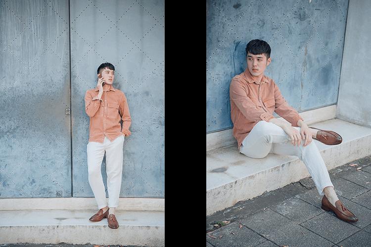 粉橘上衣與白色長褲與咖啡色流蘇樂福