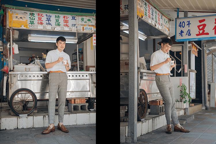 格紋淺灰色西裝褲搭配寬版短袖白襯衫與咖啡色流蘇樂福
